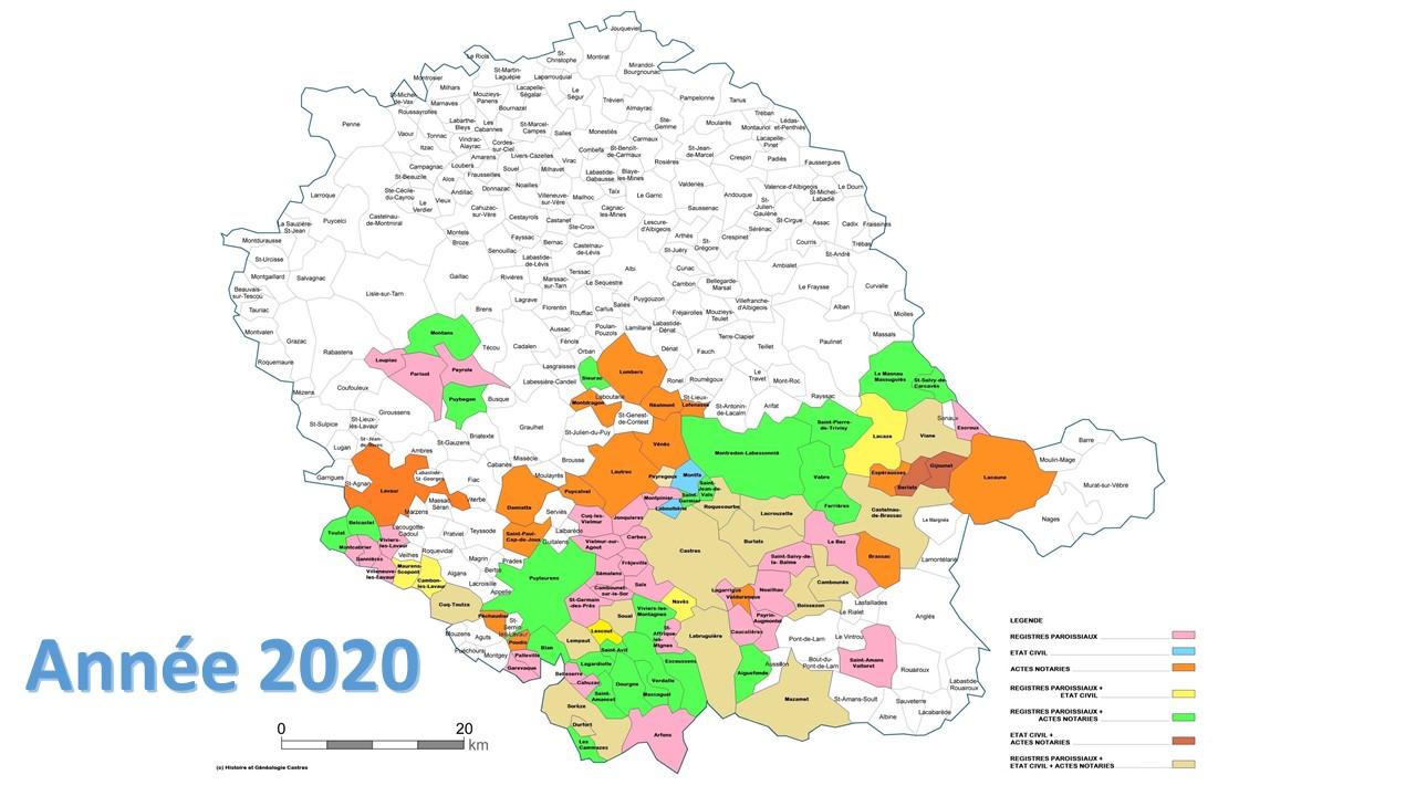 Carte des communes répertoriés -MAJ 2020