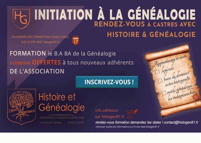 Initiation en Généalogie dans le Tarn - Histoire et Généalogie association Castraise