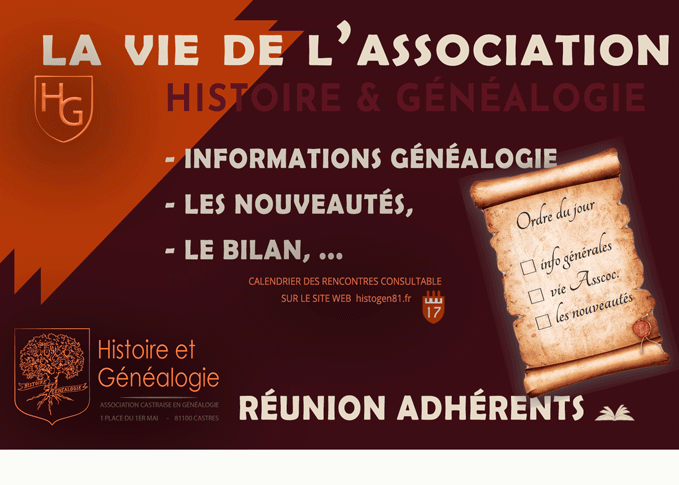 Réunion adhérents Association Histoire et Généalogie dans le Tarn