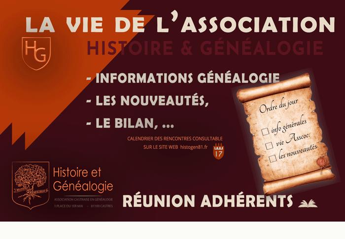 affiche réunion adhérents association histoire et généalogie