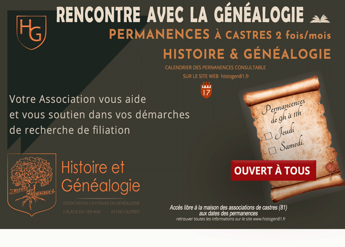 affiche des permanences histoire et Généalogie de castres