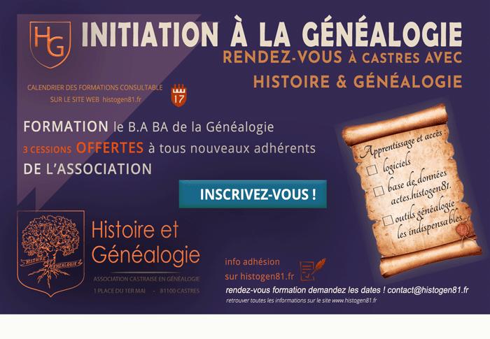 Affiche Initiation Histoire et généalogie à la maison des association de Castres
